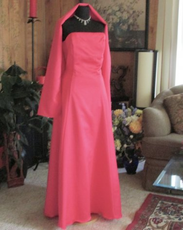 New Sz Large Watermelon Satin Gown & Wrap Dress Maids MOB Prom NWT