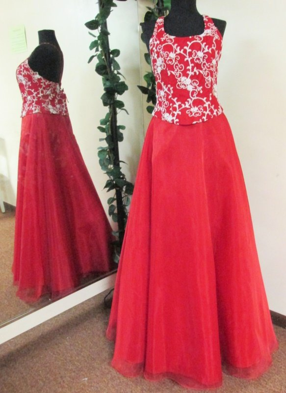 New Sz 10 Long Red Organza Prom Dress Ball Gown Bridesmaid Formal Evening Silver
