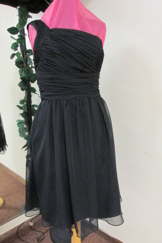 New Sz 10 Black Chiffon 1 Shoulder Prom Dress Gown Bridesmaid Formal SB Boutique