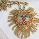 1960s Vintage Dominique Lion Head Pendant Necklace Brooch Rhinestone Gold Plate