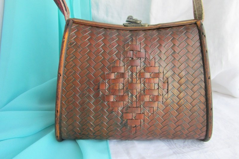 Vintage Chic Woven Leather Covered Wooden Box Purse Hinged Handbag Case