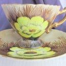 Vintage NORCREST Japan Wild Cactus Chartruse Hedgehog Cup Saucer Signed