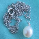 Vintage 9MM White Fresh Water Pearl Pendant Chain Necklace Silver Tone