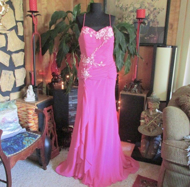 Fuschia Pink Strapless Dropped Waist Prom Dress Gown Formal Evening Sz 12
