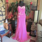 Fuschia Pink Strapless Dropped Waist Prom Dress Gown Formal Evening Sz 12