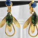 Vintage Dark Green Royal Blue Rhinestones Earrings Gold Plated Clip Danglers