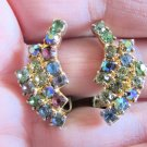 Vintage Colorful Rhinestone Spray Clip Earrings Goldtone 3 Rows