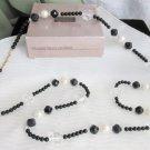 """1989 Vintage AVON Black White Crystal Fabulous Facets Necklace 18"""" Lucite"""