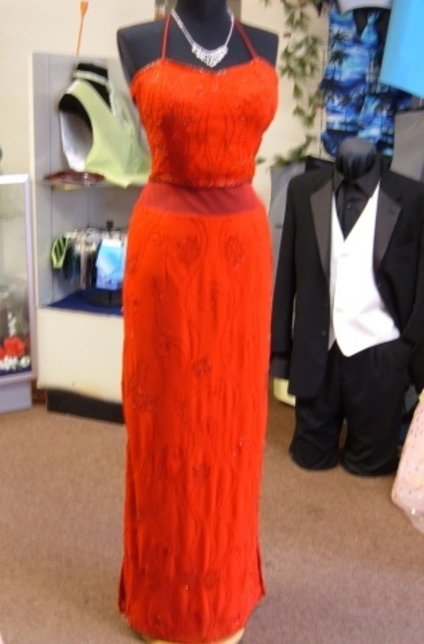 Show Stopper Red Beaded Silk Lace Up Prom Evening Pagent Gown MILANO Sz MED NWT
