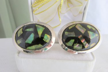 Vintage Unique Abalone Embedded Lucite Oval Cabochons Gold Plated Cufflinks Rare