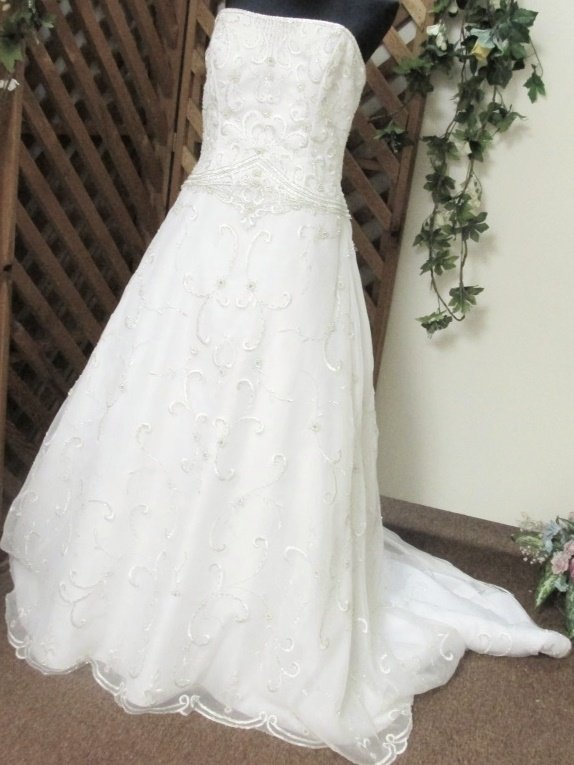 DaVinci Bead Silvery Embroidered White Chiffon Wedding Bridal Gown Train Size 12