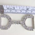 Vintage Rhinestone Buckle / Frog Connector Belt Sewing Silvertone