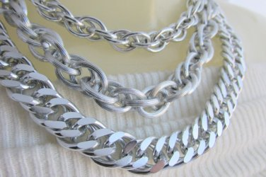 """Vintage Lightweight Silvertone 3 Chain Necklace Large Link Rope Curb 1/2"""" Chains"""