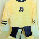 Yellow Black Music Pants Blouse Top Dance Costume Tap Jazz Halloween Large Child
