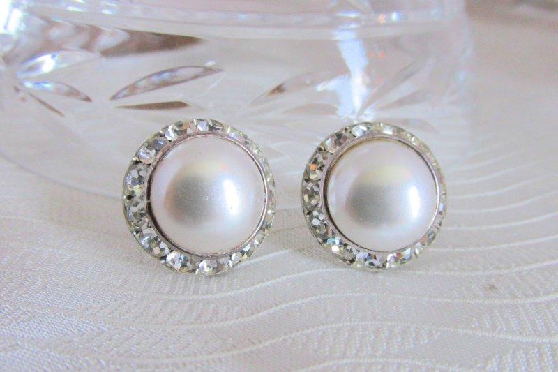 Vintage Channel Set Rhinestones & Faux Pearl Earrings Silvertone Pierced Bridal