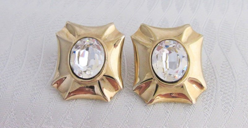 Vintage Rhinestone Rectangle Frame Goldtone Earrings Posts Excel Cond