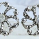 Vintage Pinwheel Marcasite Rhinestone Earrings Antiqued Silver Plate Pierced