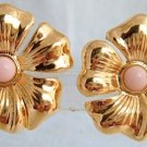 Vtg AVON Magnolia Blossoms Flower Pink Center Earrings GoldPlate Clips NOS