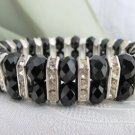 Black Glass Bead Rhinestone Rondels Stretch Bracelet Silvertone Elegant Flash