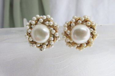 Vintage Twisted Rope Faux Pearl Gold Plate Tubes Earrings Clip On