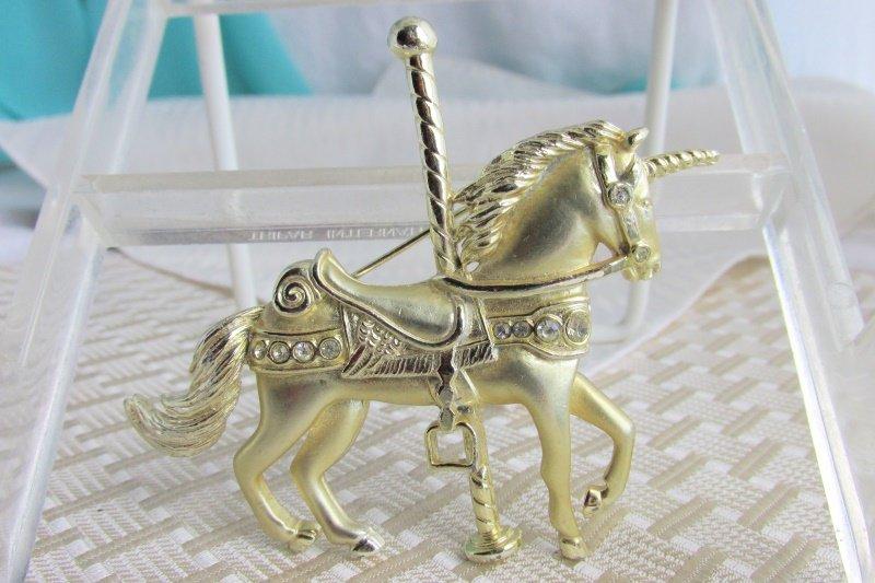 Vintage Detailed Rhinestones Carousel Unicorn Pin Gold Plate Sparkling Shiny