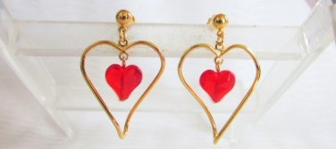 Vintage AVON Two of Hearts Earrings Gold Tone Surgical Posts Red Acrylic New