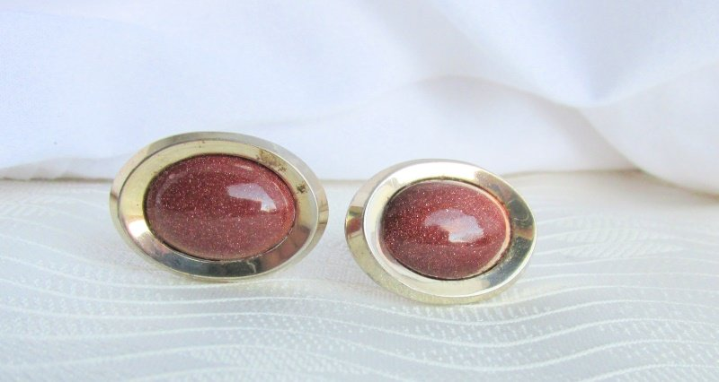 Vintage ANSON 17MM Goldstone Oval Cufflinks Gold Plated Pat Pend Signed