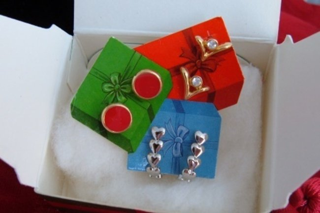 Vintage Holiday Suprises Earrings 3 Pair Gold Silver Plate Enamel CZ Avon NIB