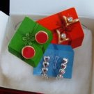 Vintage Holiday Suprises Earrings 3 Pair Gold Silver Plate Enamel CZ Avon NIB