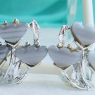 Vintage Silver Grey Thermoset Tulip Earrings SilverTone Clips