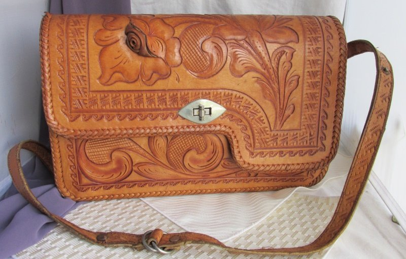 RARE Vintage Chac Mool Blooming Rose Tooled Leather Handbag Purse Strap MEXICO