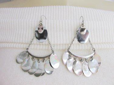 Vintage Boho Silver Tone Chandelier Charm Earrings Pierced Wires