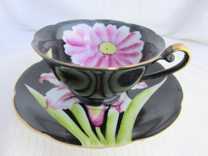 Vintage NORCREST JAPAN Pop Art Raspberry Pink Flower Black Cup Saucer Signed