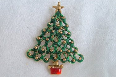 Vintage Forest Green Enamel Christmas Tree Pin Gold Tone Star Top