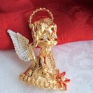 Vintage Gerry's Christmas Angel Pin Gold Tone Rhinestone Enamel NIB