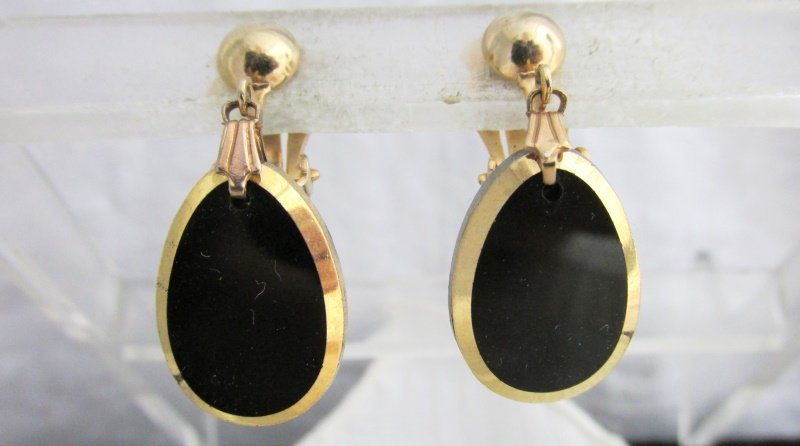 Vintage Gold Edge Black Cathedral Glass Tear Drop Earrings Gold Plated Clips
