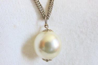"Vintage 22MM Faux Pearl Pendant 24"" Necklace 3 Gold Plated Chains"