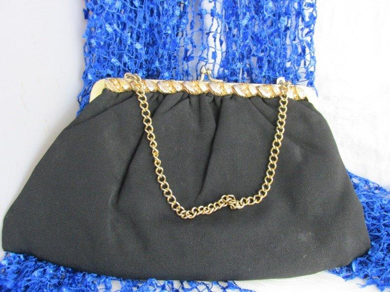 Vintage Black Cloth Clutch Purse w/ 2 Tone Gold Plate Metalwork Rhinestone Chain