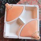 Vintage California # L90 Beige/Orange/Gold Lazy Susan Lidded Serving Set No Base