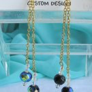 "Handmade Swarovski Glass Black Fired Bead 4"" Earrings Goldtone Chains"
