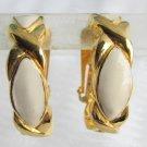Vintage Avon Off White Cream Enamel Large Hoop Earrings Gold Plated Clip On