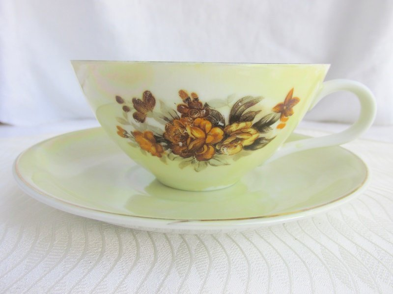 Vintage Yellow Roses on Lemony Green Lusterware Cup Saucer Porcelain