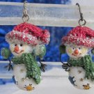 Sparkly Resin Snowman Earrings Pierced Wires Winter Cap Scarf Patches
