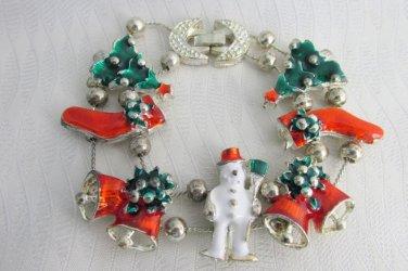 Christmas Charm Slide Bracelet Silver Plate Chains Tree Frosty Bells Stockings