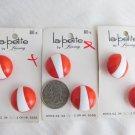"Mom's Estate 6 Vintage La Petite Orange White 7/8"" Buttons Shank Sz 34 Orig Card"