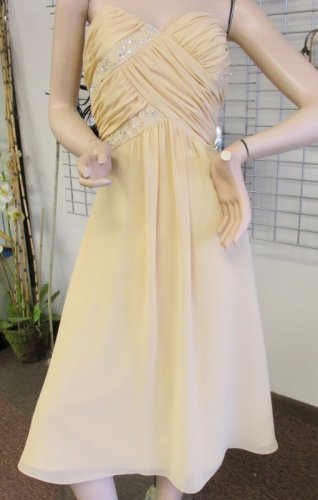 New Sz 12 Chiffon Buttercup Gold Cocktail Short Dress Gown Maids MOB Prom NWT