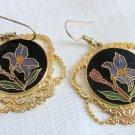 Vintage Purple Iris Cloisonne' Enamel Pendant Earrings Gold Plate Large Rounds
