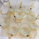 6 Vintage LIBBEY Clear Glass 6oz Cups Coffee Cocktail Gold Plated Handle Holders