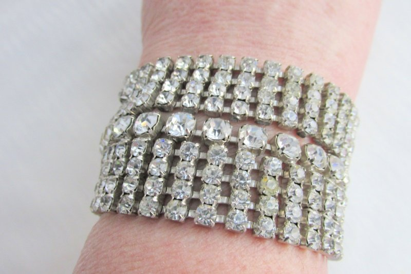 Vintag Juliana Wide Runway Bracelet Fully Loaded w/ 9 Rows Sparkling Rhinestones