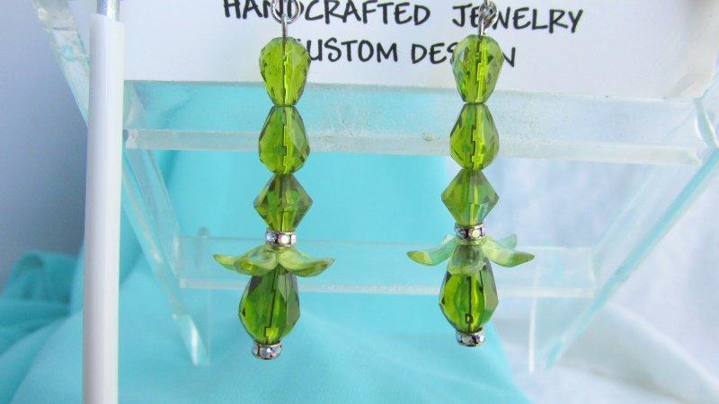 Swarovski Rhinestone Green Bead Earrings Silvertone Flower Dangler Handcrafted